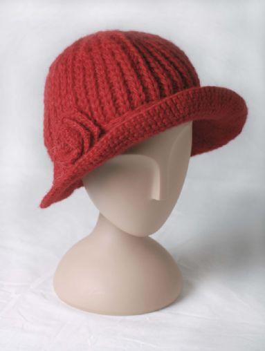 Stickad hatt, röd